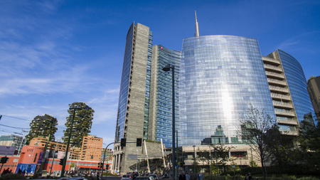 Garibaldi Station and Unicredit Tower area with vertical forest, Milan, Italy