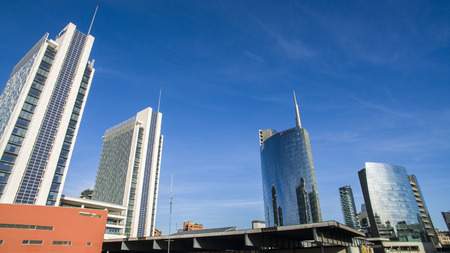 Garibaldi Station and Skyscrapers. Unicredit Tower and the urban area of ??Milan, Italy Editorial