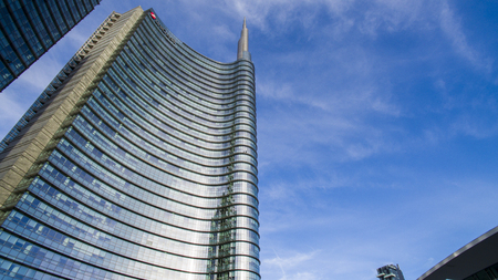 Unicredit tower, square Gae Aulenti, Milan, Italy. October 7, 2017. View of the Unicredit tower, the tallest skyscraper in Italy