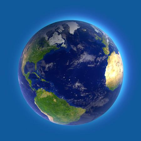 atmospheric phenomena: North Atlantic Ocean, the map of America, Africa and Europe Stock Photo
