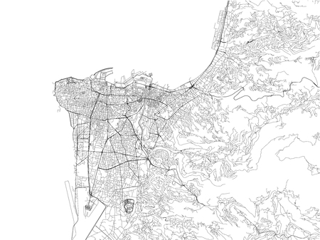 Streets of Beirut, city map, Lebanon