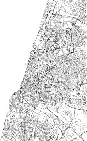 Streets of Tel Aviv, city map, Israel