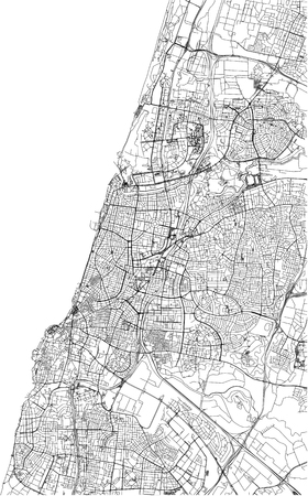 Streets of Tel Aviv, city map, Israel