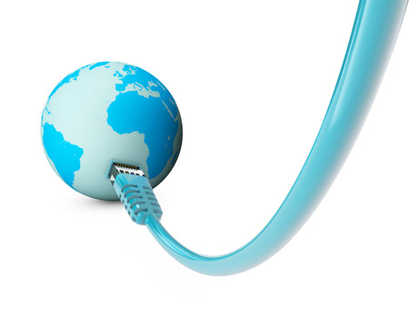cable, internet connection, bandwidth. The world on the web. World Connections, Globe