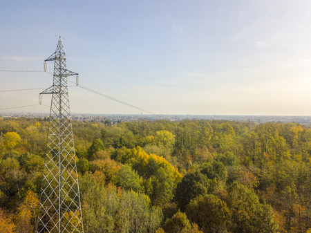 Aerial view of an electric trellis immersed in greenery, electricity, electric wires, electric current Фото со стока
