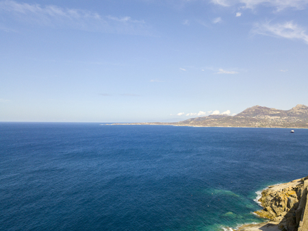 Aerial view of the coast of Corsica, coves with crystalline sea. Corsica. Coastline. france