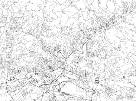 Streets of Bergamo, city map, Lombardy, Italy. Street map