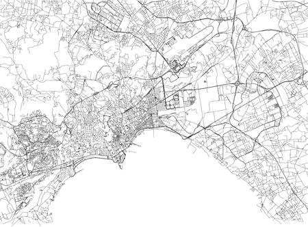 市内マップ、カンパニア州、イタリアのナポリの通り。ストリート マップ