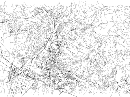 Streets of Brescia, city map, Lombardy, Italy. Street map