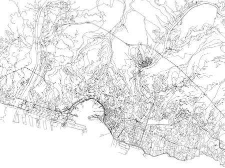 Streets of Genoa, city map, Liguria, Italy. Street map