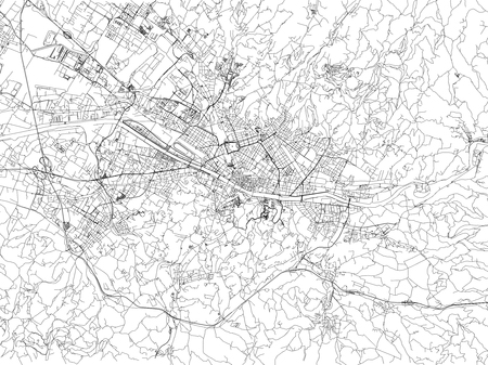 Streets of Florence, city map, Tuscany, Italy. Street map