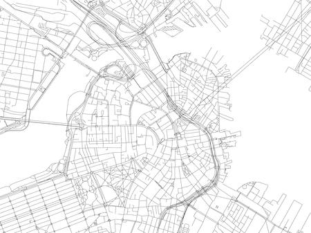 Streets of Boston, city map, Massachusetts, United States. Street map 向量圖像