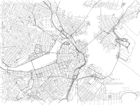 Streets of Boston, city map, Massachusetts, United States. Street map Illustration