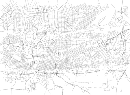 Streets of Johannesburg, city map, South Africa. Street map Illustration