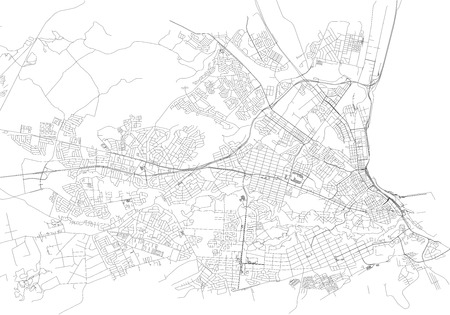 Streets of Port Elizabeth, city map, South Africa. Street map