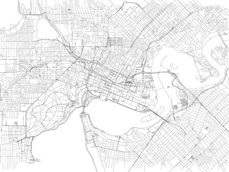 Streets of Perth, city map, Australia. Street map Vektorové ilustrace