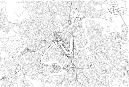Streets of Brisbane, city map, Australia. Street map Illustration