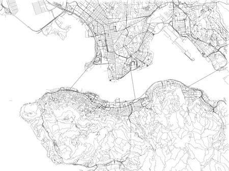 Hong Kong roads, city map, China, streets Illustration