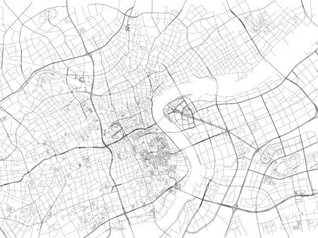 Shanghai street, City Map, China, Roads Vectores