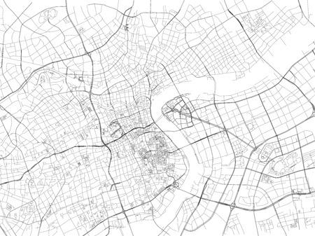 Shanghai street, City Map, China, Roads Illustration