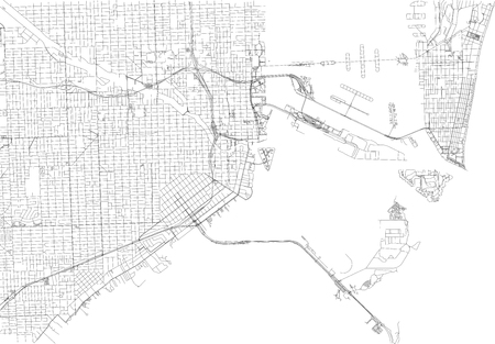 Streets of Miami, city map, Florida, United States. Street map