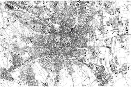 Milan streets, city maps, Italy, streets and buildings