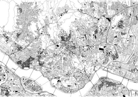 Straten van Seoul, kaart van de stad, Zuid-Korea, stratenplan en gebouw