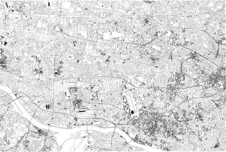 Satellite view of Tokyo, city map, Japan. Street map, house and building