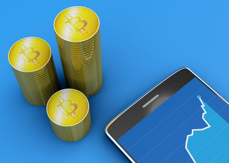 Mobile phone and Bitcoin, cryptocurrency, electronic money, virtual currency, transitions. 3d rendering