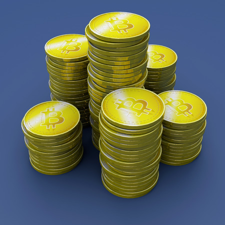 Bitcoin, cryptocurrency, electronic money, virtual currency, transitions. 3d rendering