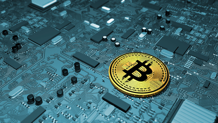 Bitcoin, crypto currency, electronic money, virtual currency, transitions. Printed circuit board, graphics card, 3d rendering