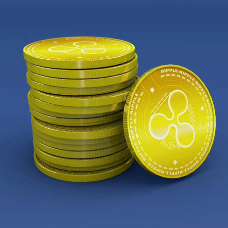 Ripple, xrp, cryptocurrency, electronic money, virtual currency, transitions. 3d rendering Stock Photo