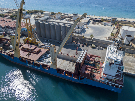 Cargo ship moored at the port of Vibo Marina, Calabria, Italy. BBC Chartering Editorial