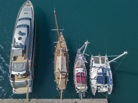 Aerial view of sailboats and moored boats. Boats moored in the port of Vibo Marina, quay, pier. Calabria. italy Editorial