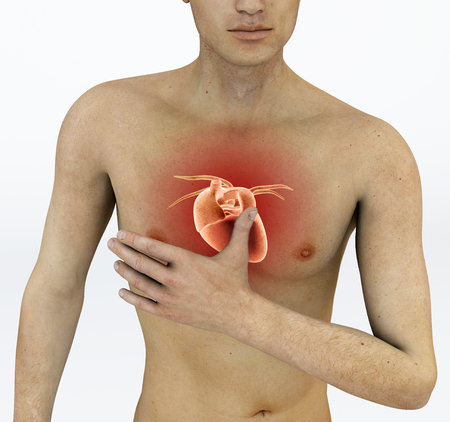Heart attack, chest pain. Arrhythmia, heart problems. Man with a hand on his chest Stock Photo