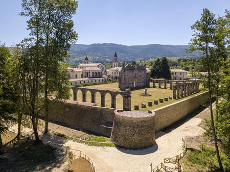 Aerial view of the Certosa of Serra San Bruno, Certosino monastery, Vibo Valentia, Calabria, Italy