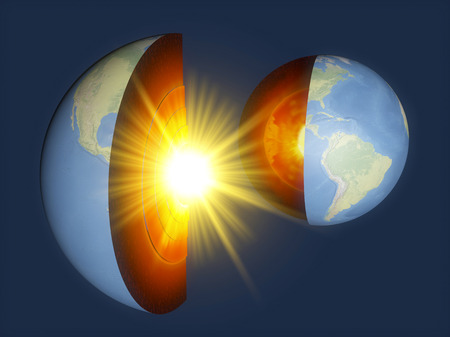Earth structure, earth section, division into layers, the earths crust and core. 3d rendering.