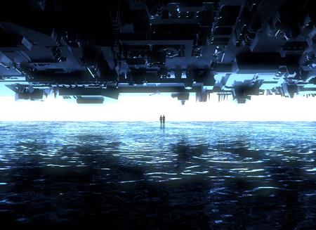 Fantasy landscape, fissures, darkness, light, sun, people in backlight in science fiction landscape, big bright portal