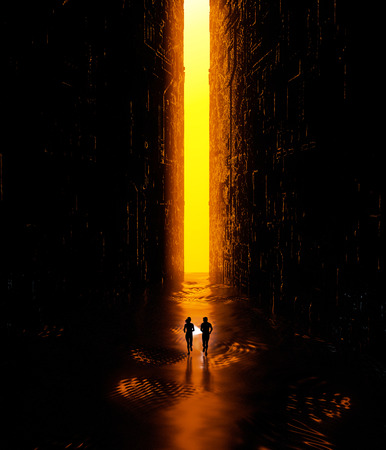 Fantasy landscape, fissures, darkness, light, sun, people running with a hand in a science fiction landscape, big bright portal. 3d rendering