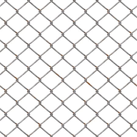 Metal net, intertwined metal wires on a white background. Metal fence Stock Photo