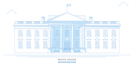 White House, Washington, stylized, freehand design. Front view of the White House. United States Illustration
