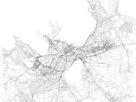 Tallinn map, satellite view, city, Estonia. Street map Illustration