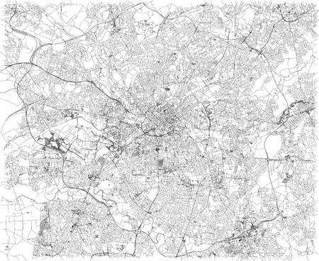 Manchester map, satellite view, city, England. Streets view. United Kingdom