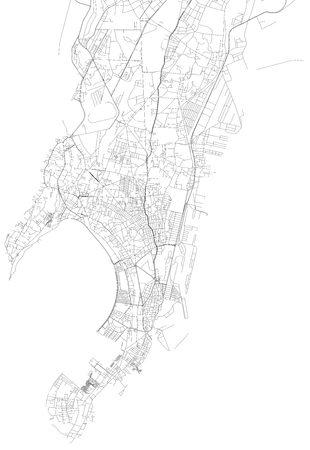 Map of Mumbai, satellite view, city, India. Streets of the city Stock Vector - 99772363