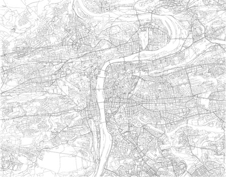 Map of Prague, satellite view, city, Czech Republic. City streets and houses. Capital