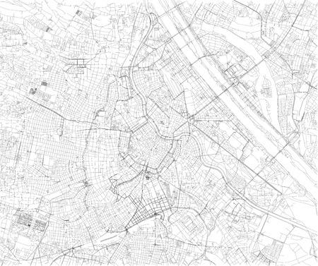 Kaart van Wenen, stadskaart, Oostenrijk. Straten van de hoofdstad, satellietbeeld