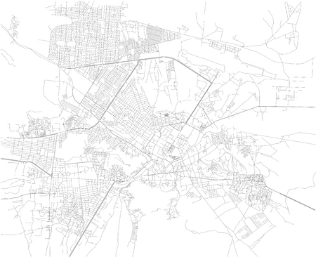 Map of Kabul, streets, map of the capital. Afghanistan. Asia Illustration