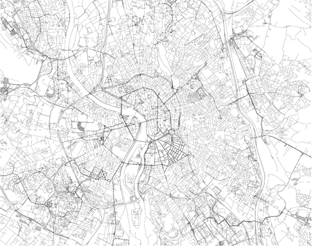 Toulouse is the capital of the French department of Haute-Garonne, map, satellite view of the city, streets and houses, France