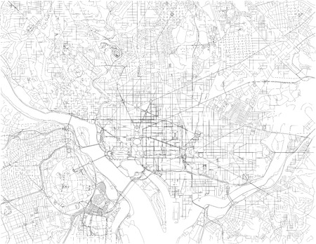 Washington DC map, is the capital of the United States of America. Streets of the capital, satellite view. District of Columbia.
