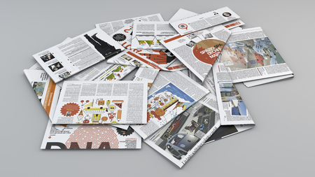 Newspapers, press review. Newspapers scattered on a plane. Reading of newspapers. Facts of the day. 3d rendering